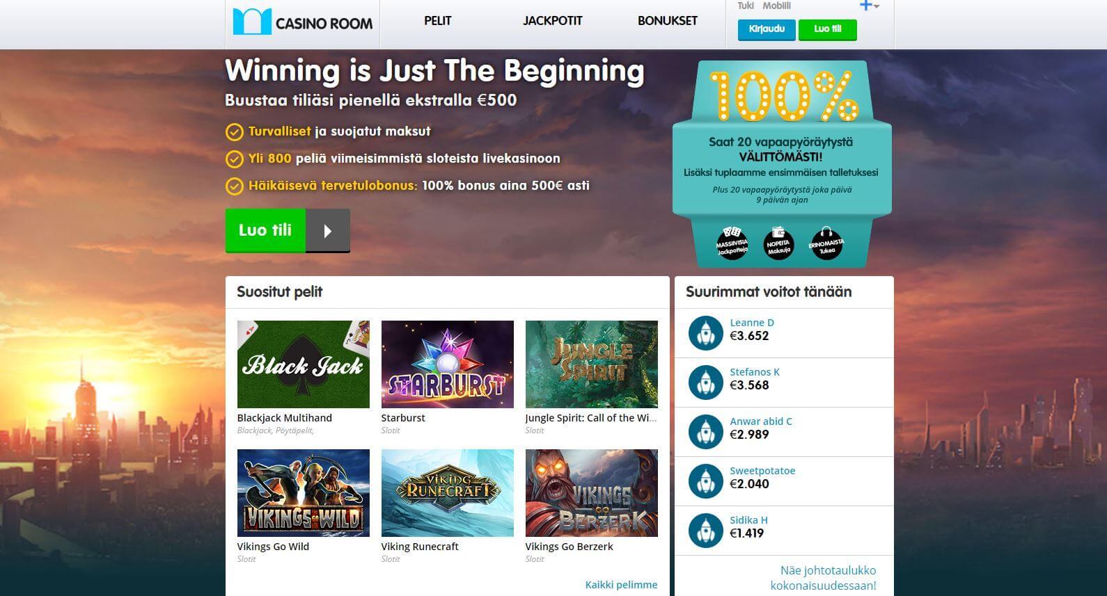 Casino Room netticasino ja huikeat bonukset
